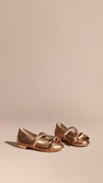 Laser-cut Metallic Leather Ballerinas