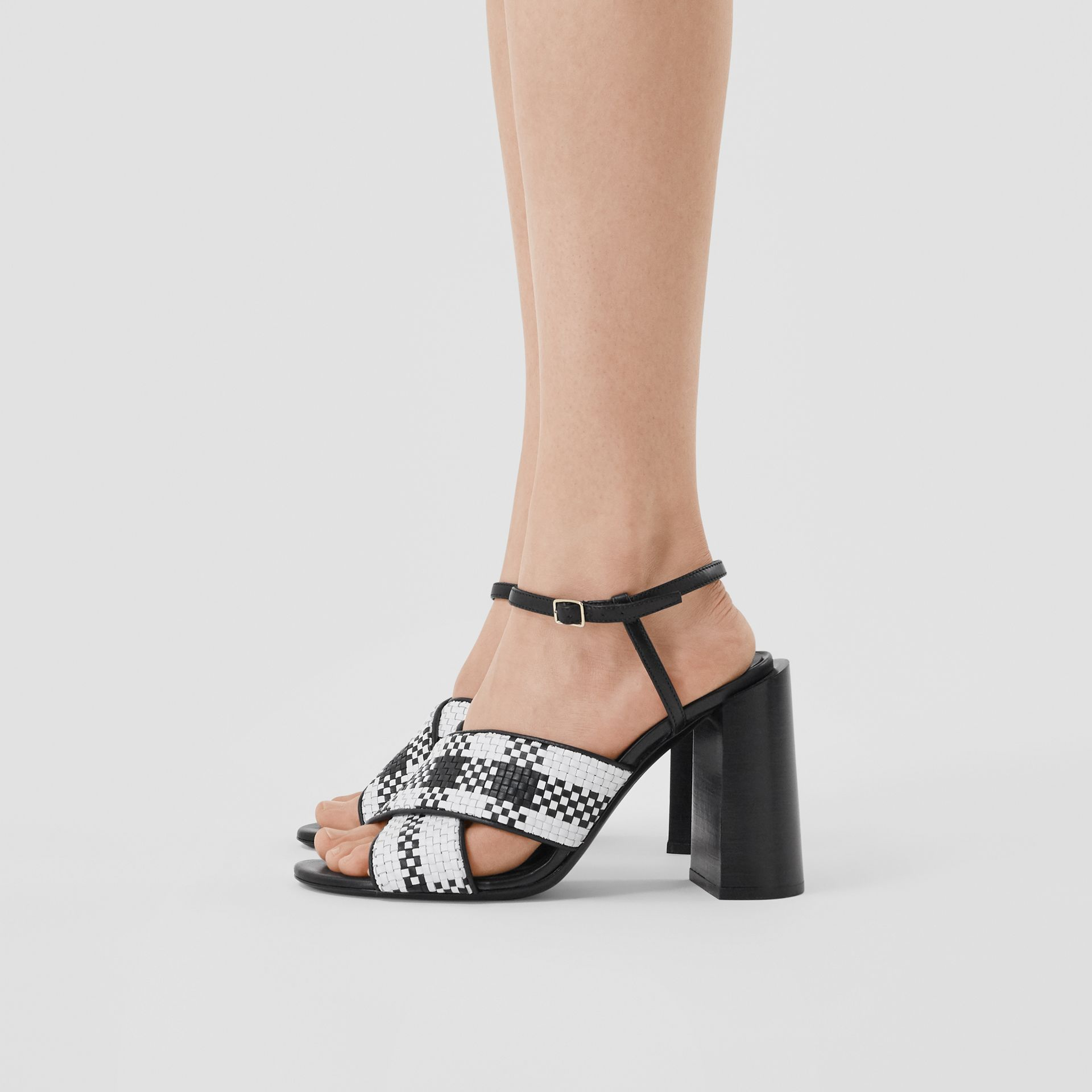 Latticed Leather Block-heel Sandals in Black/white - Women | Burberry Hong Kong S.A.R - gallery image 2