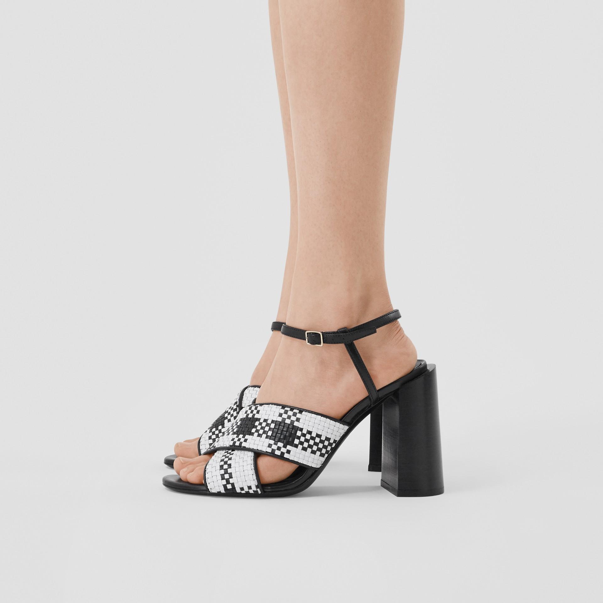 Latticed Leather Block-heel Sandals in Black/white - Women | Burberry - gallery image 2