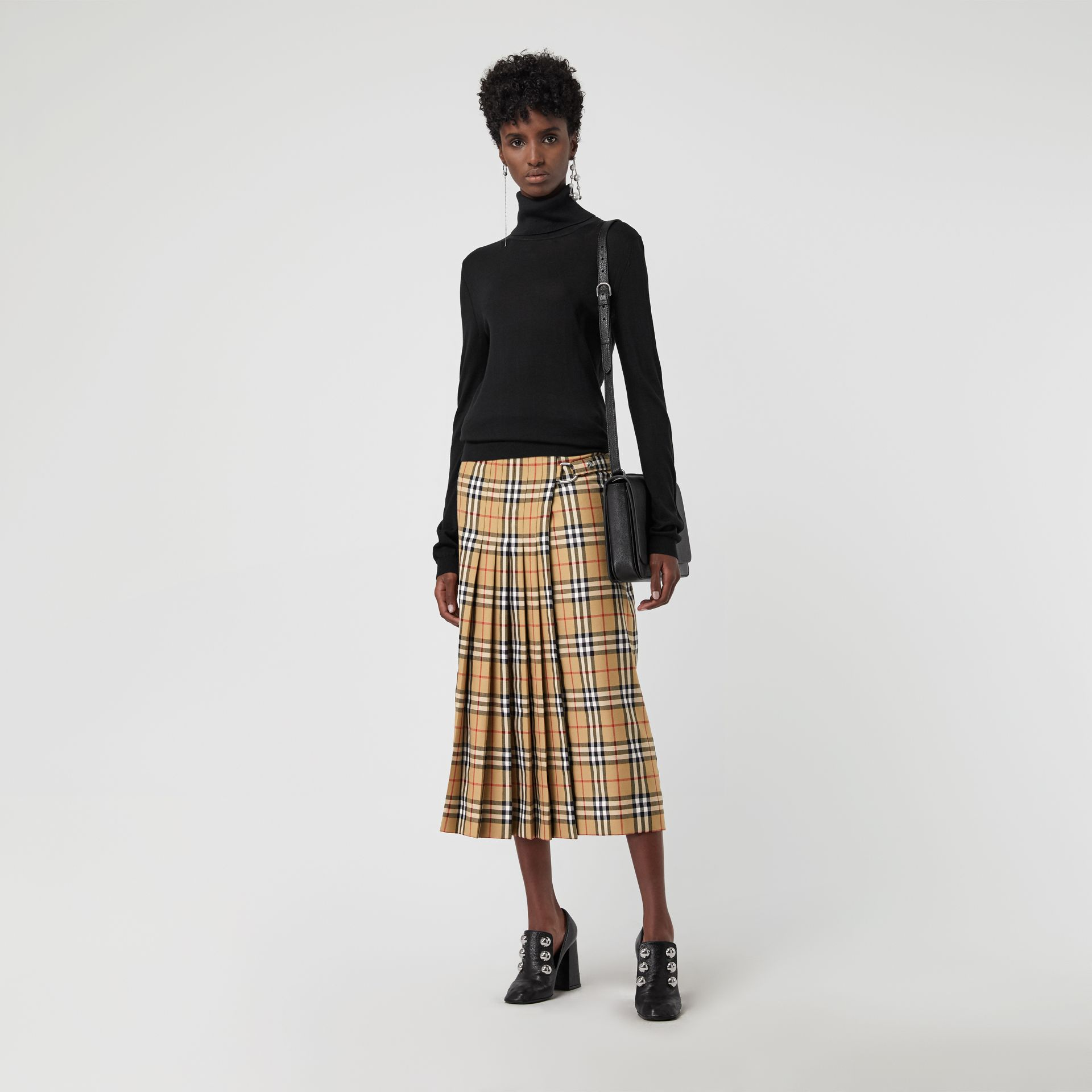 Vintage Check Wool Kilt in Antique Yellow - Women | Burberry - gallery image 0
