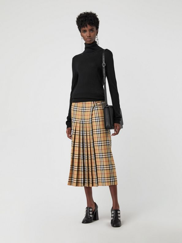 Vintage Check Wool Kilt in Antique Yellow