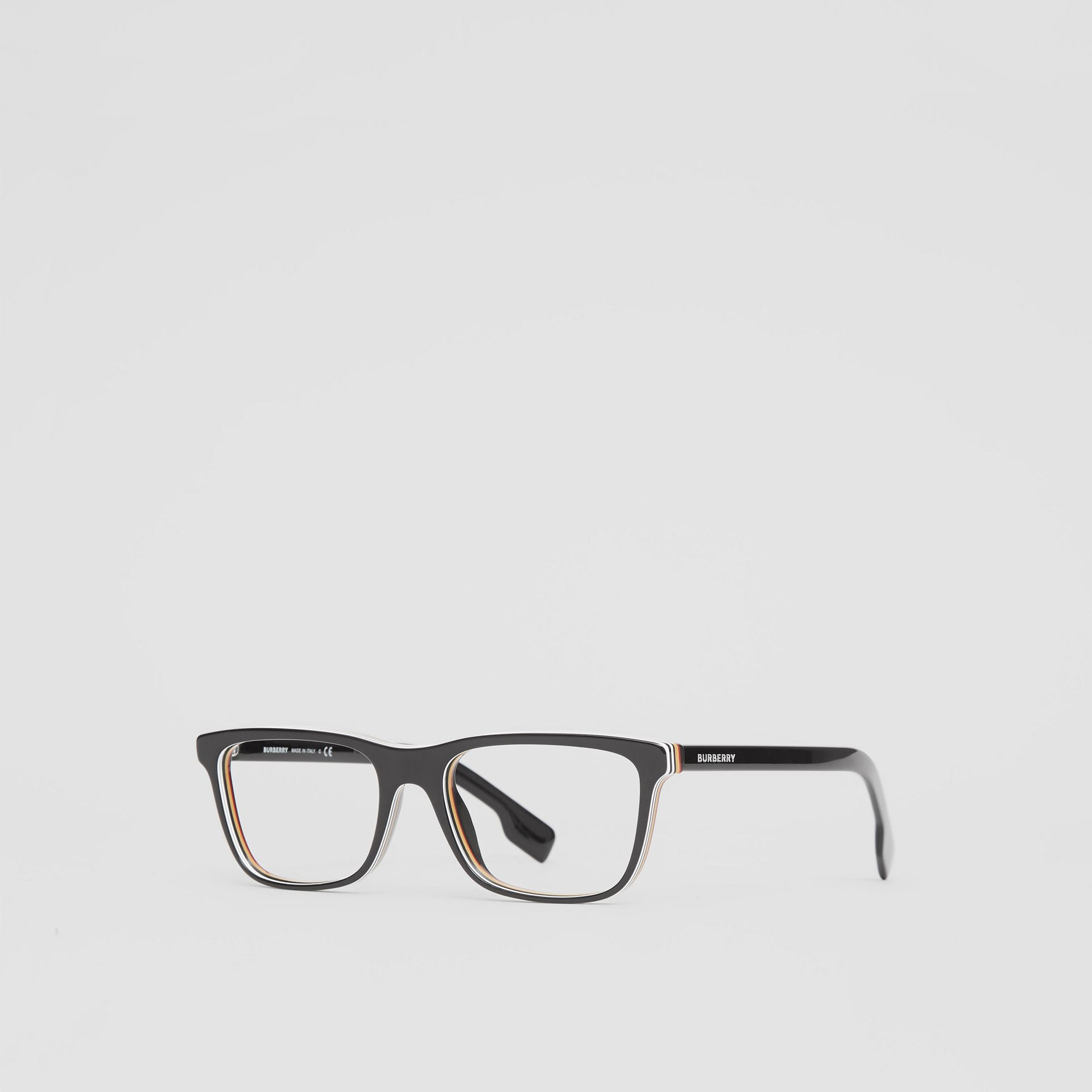 Icon Stripe Detail Rectangular Optical Frames in Black - Men | Burberry - gallery image 4