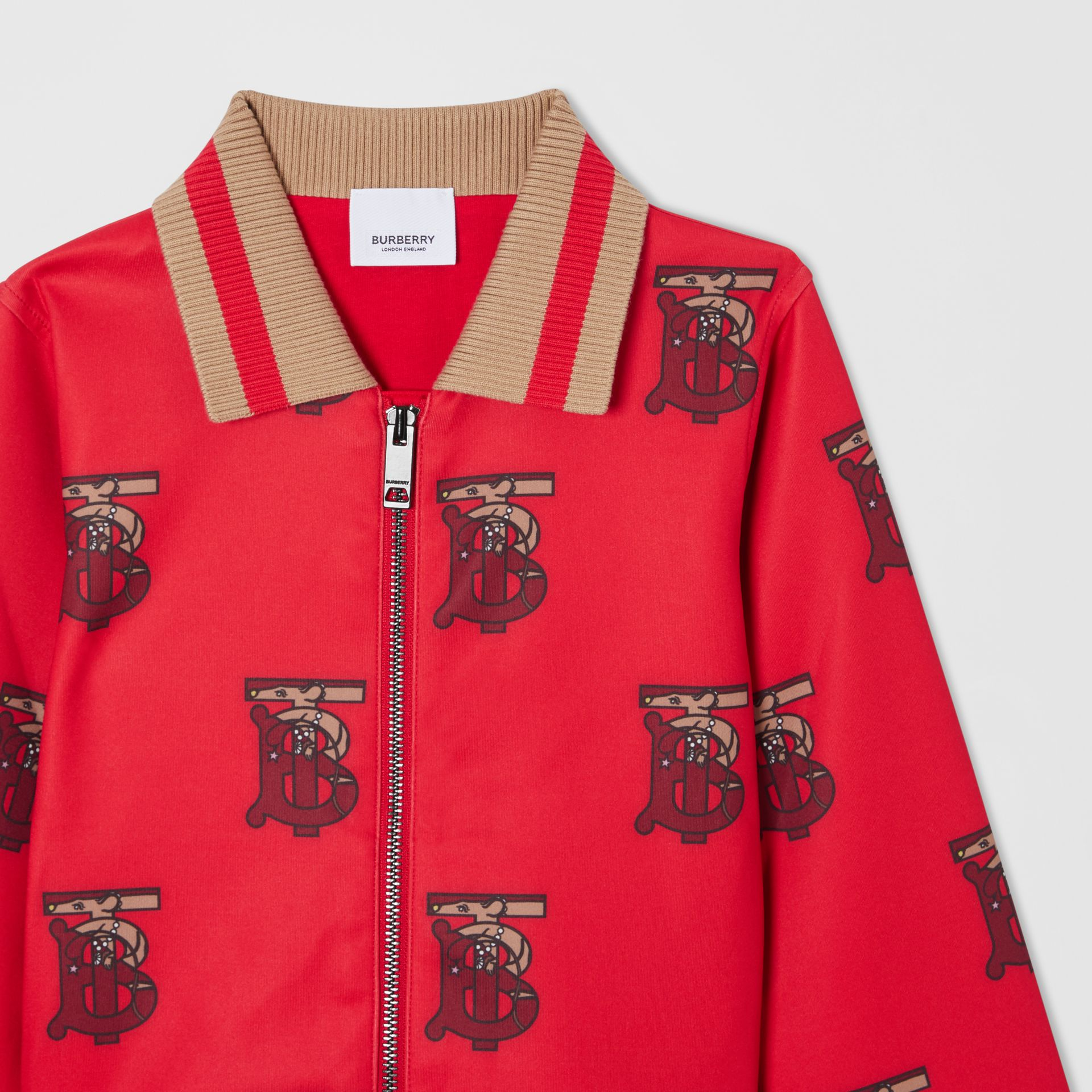 Monogram Motif Neoprene Track Top in Bright Red | Burberry - gallery image 5
