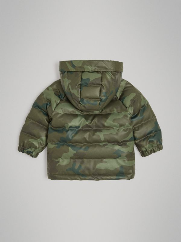 Camouflage Print Down-filled Puffer Jacket in Khaki - Children | Burberry - cell image 3
