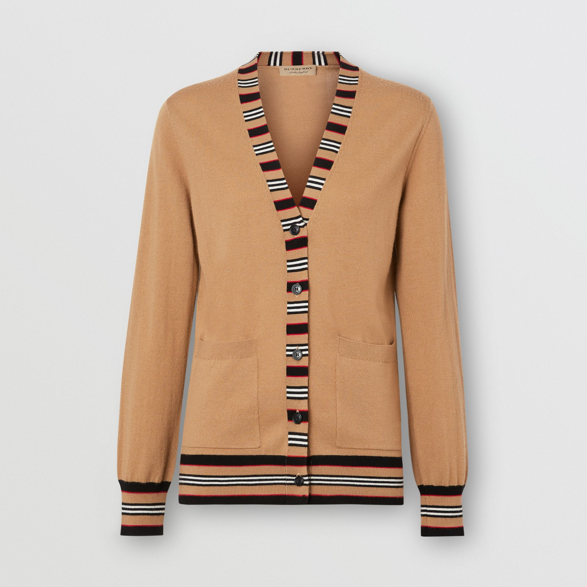 Icon Stripe Detail Merino Wool Cardigan in Camel - Women | Burberry Australia - gallery image 3