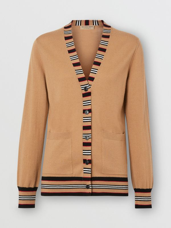Icon Stripe Detail Merino Wool Cardigan in Camel - Women | Burberry - cell image 3
