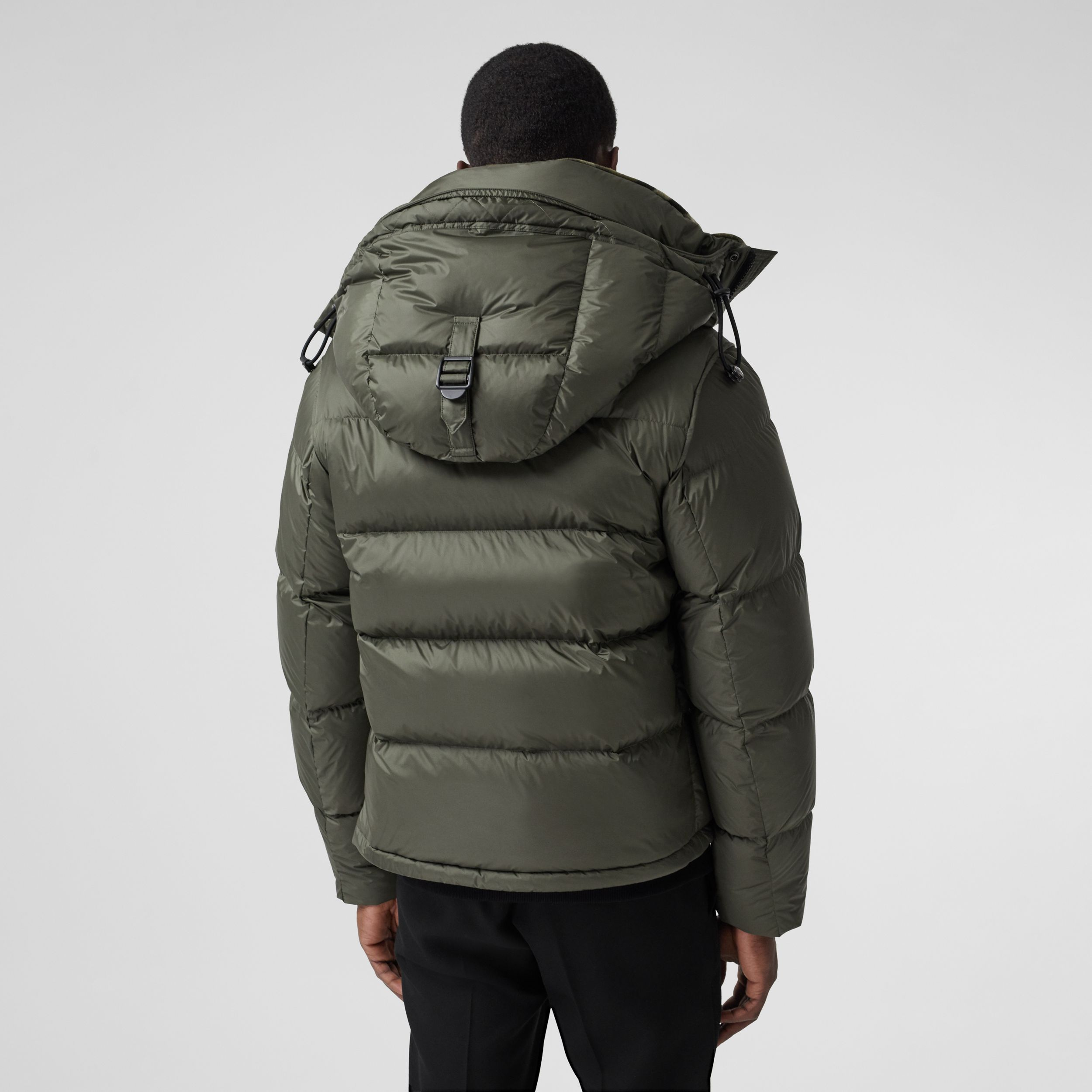 Detachable Sleeve Hooded Puffer Jacket in Olive - Men | Burberry United Kingdom - 3