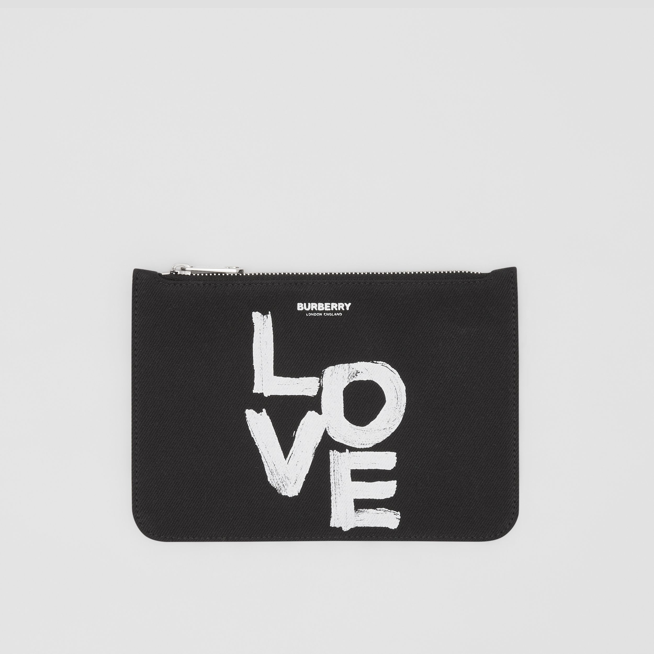 Small Love Print Cotton Twill Pouch in Black/white - Women | Burberry - 1