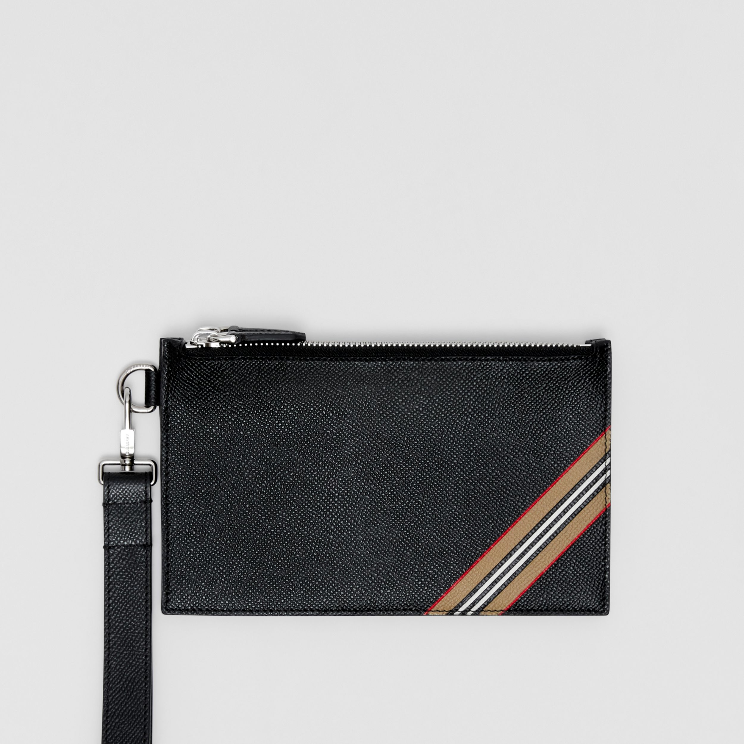 Icon Stripe Print Grainy Leather Zip Pouch in Black | Burberry - 1