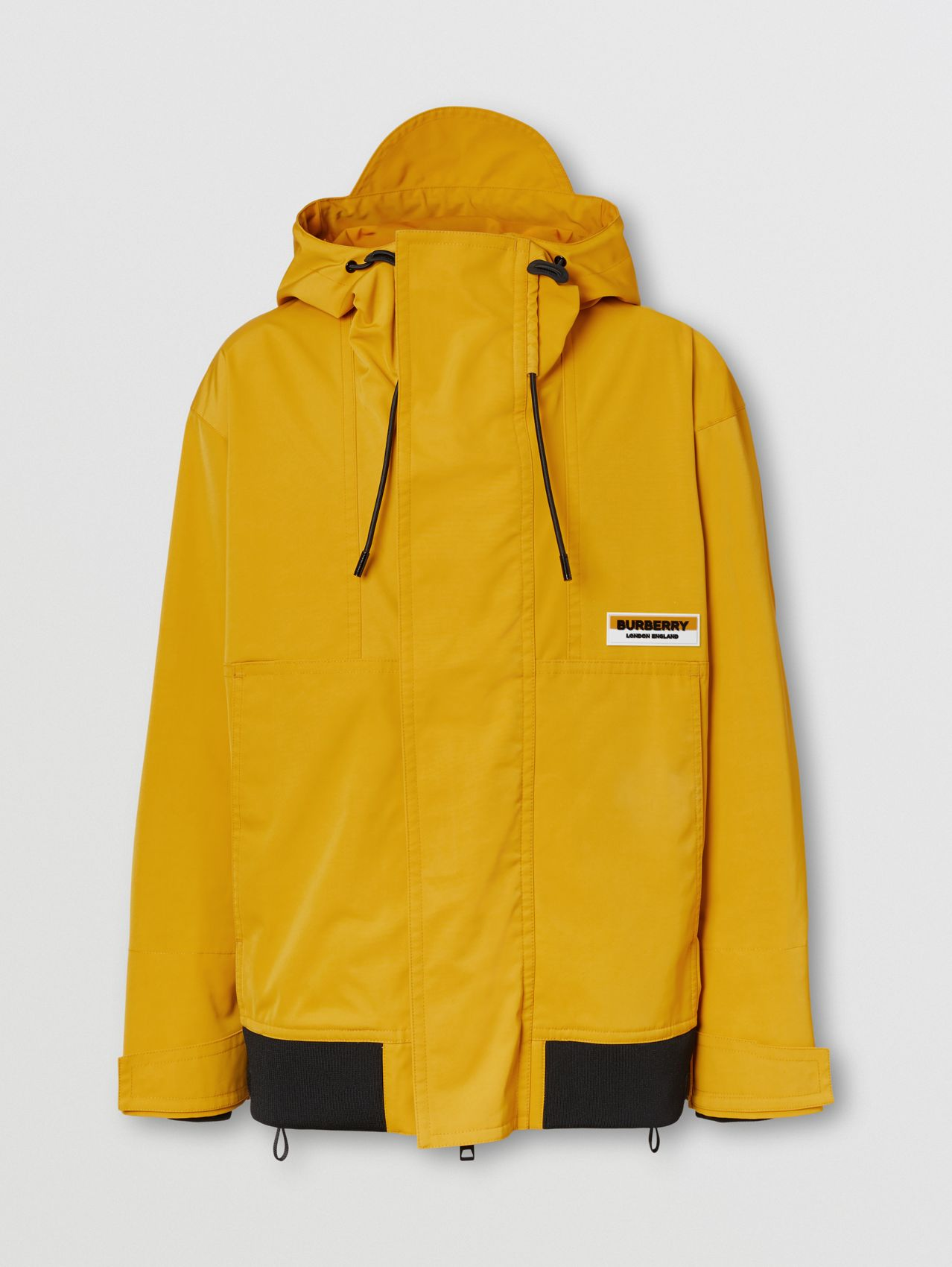 Logo Appliqué Technical Faille Hooded Jacket in Vivid Ochre