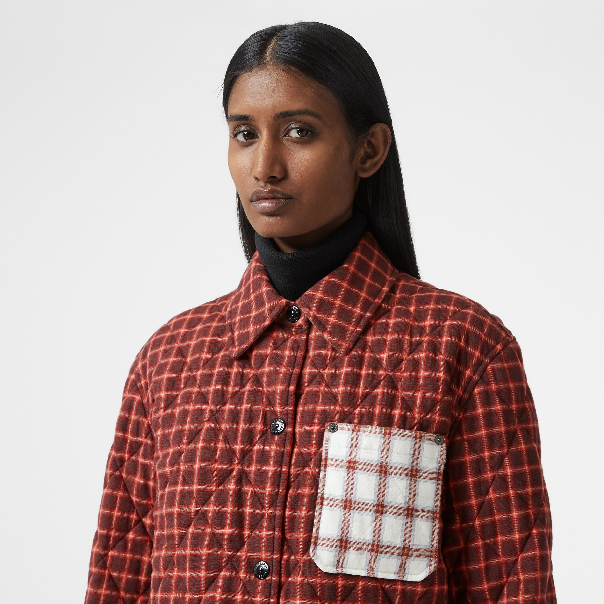 Contrast Pocket Check Cotton Flannel Overshirt in Burgundy - Women | Burberry - 2