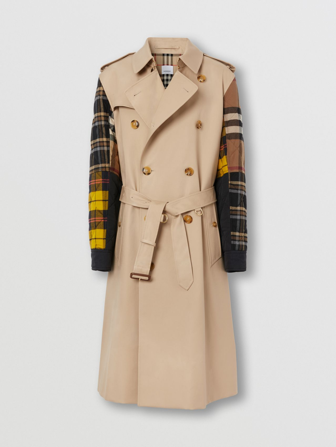 Patchwork Check Sleeve Cotton Gabardine Trench Coat in Soft Fawn
