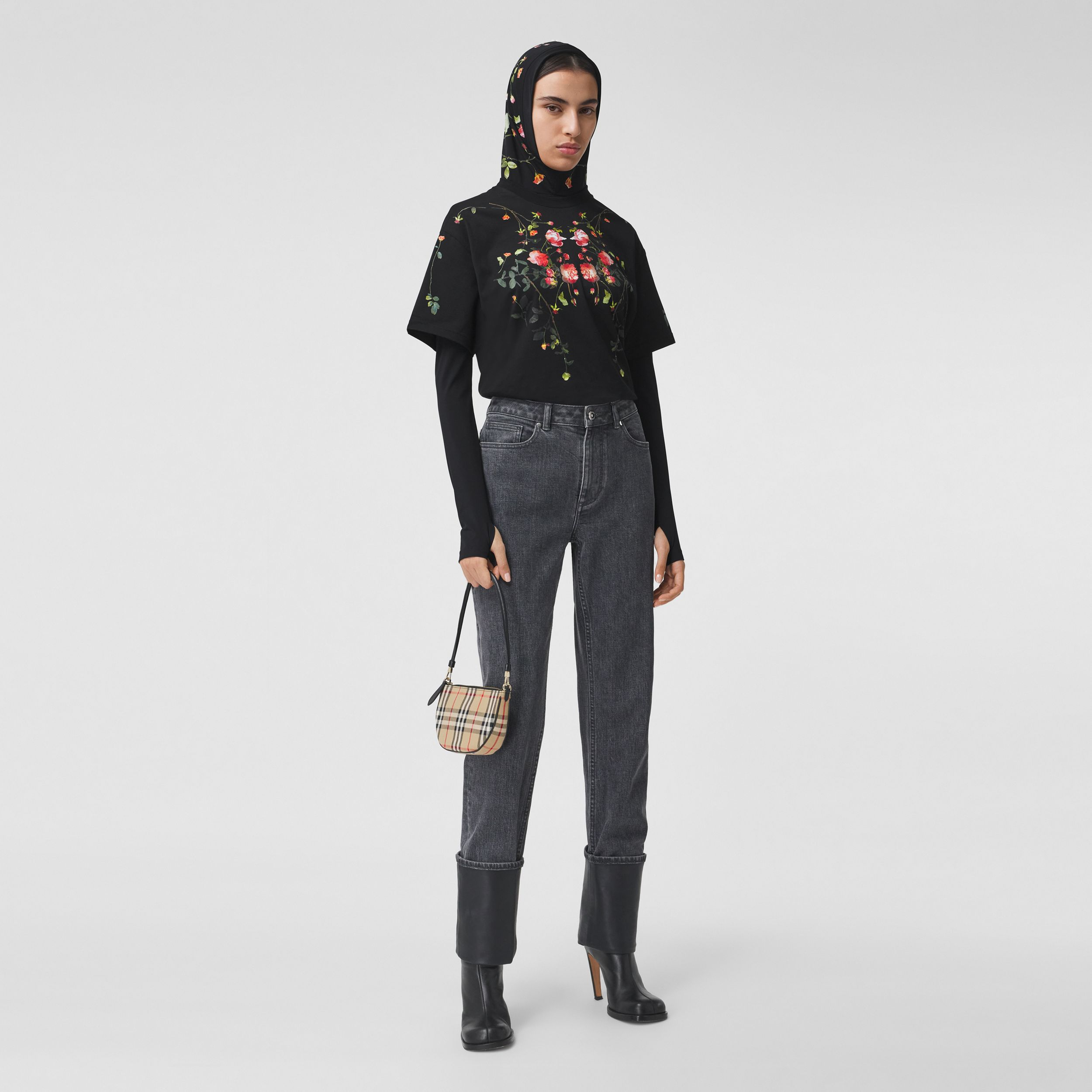Rose Print Cotton Oversized T-shirt in Black - Women | Burberry - 1