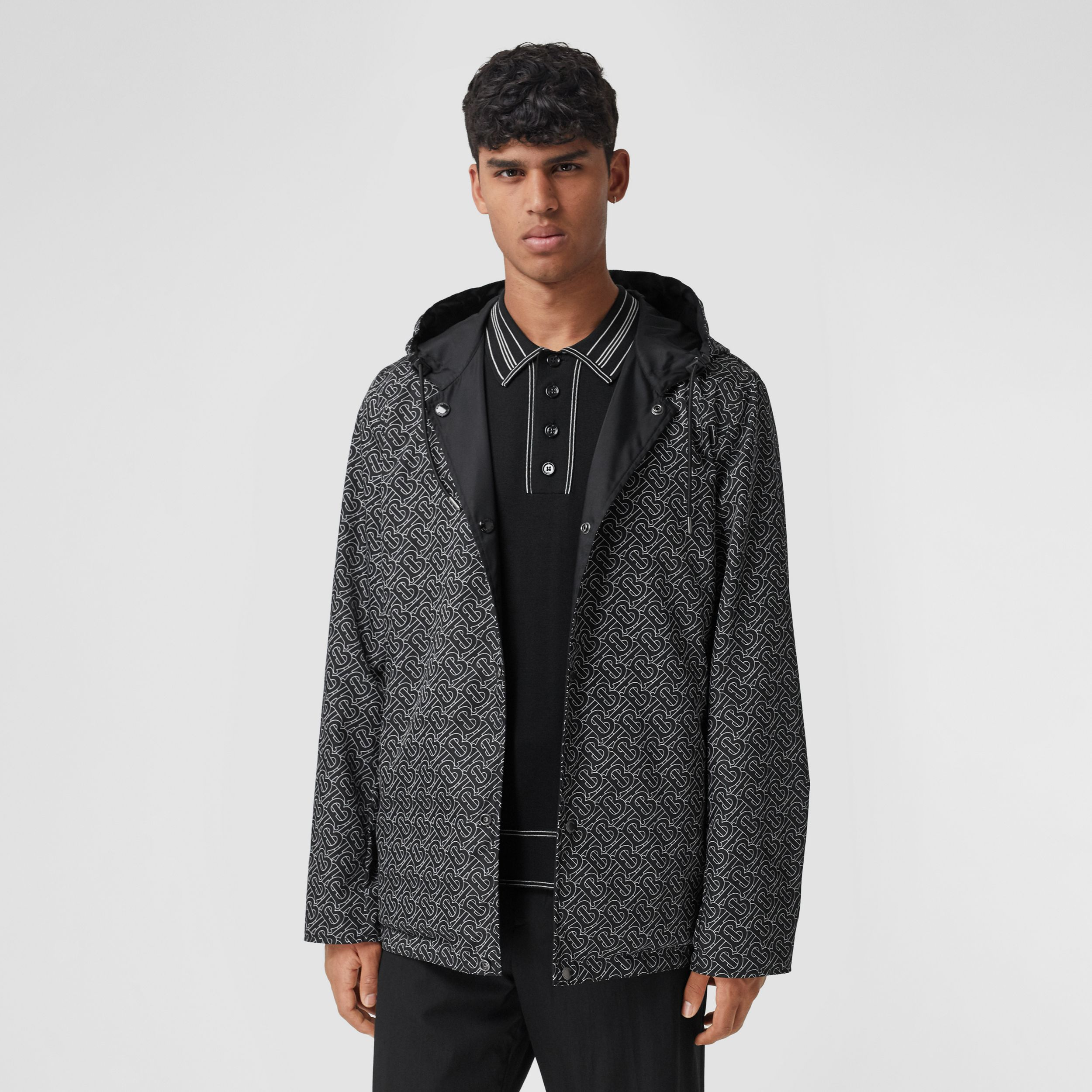 Reversible Monogram Print ECONYL® Hooded Jacket in Black/white - Men | Burberry - 2