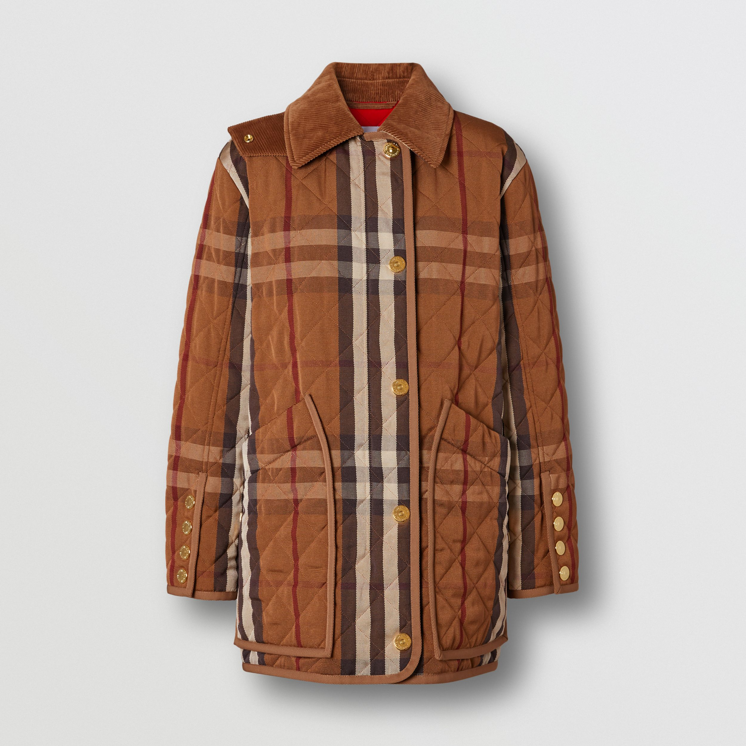 Diamond Quilted Check Technical Cotton Barn Jacket in Birch Brown - Women | Burberry - 4