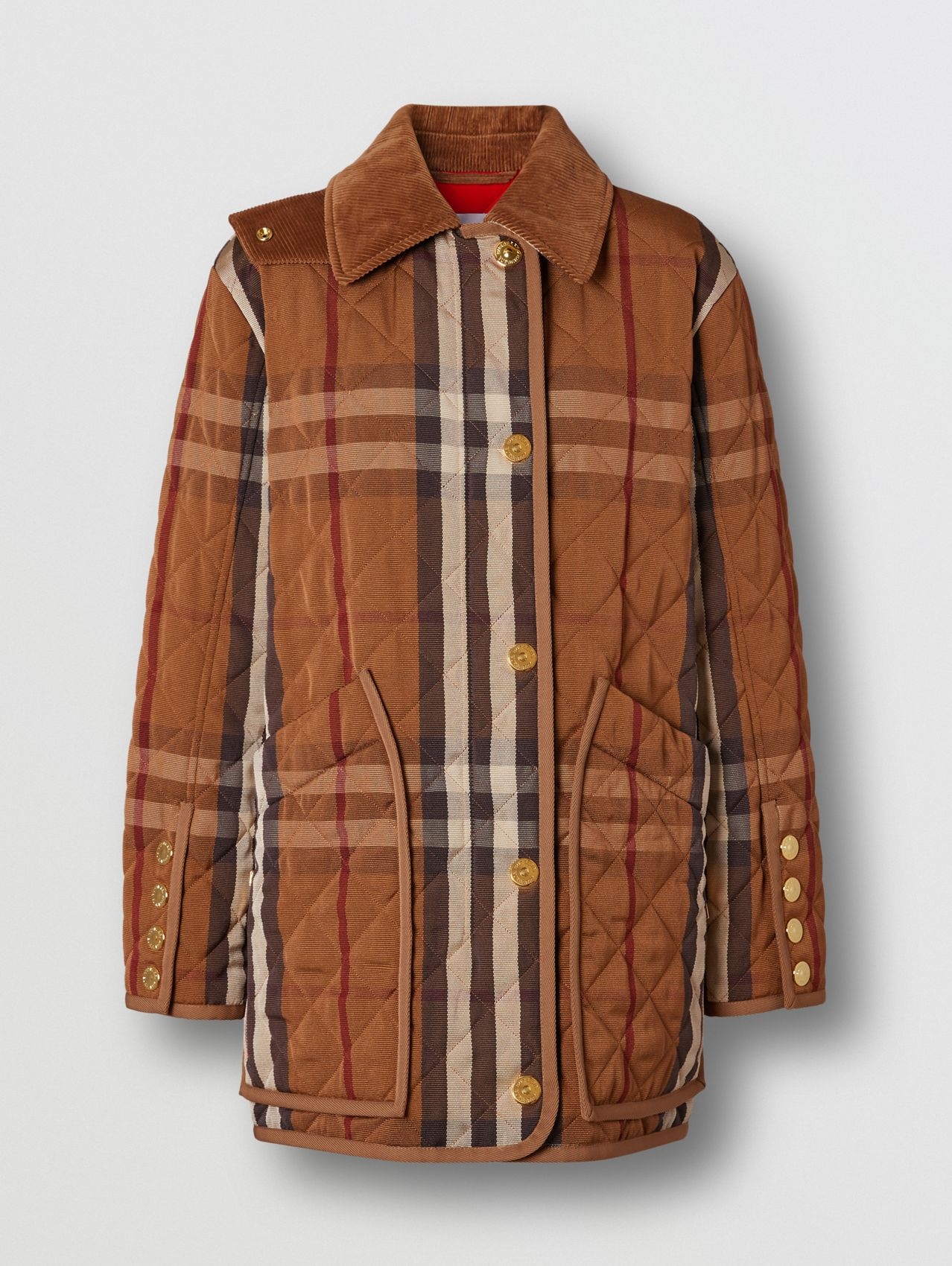 Diamond Quilted Check Technical Cotton Barn Jacket in Birch Brown