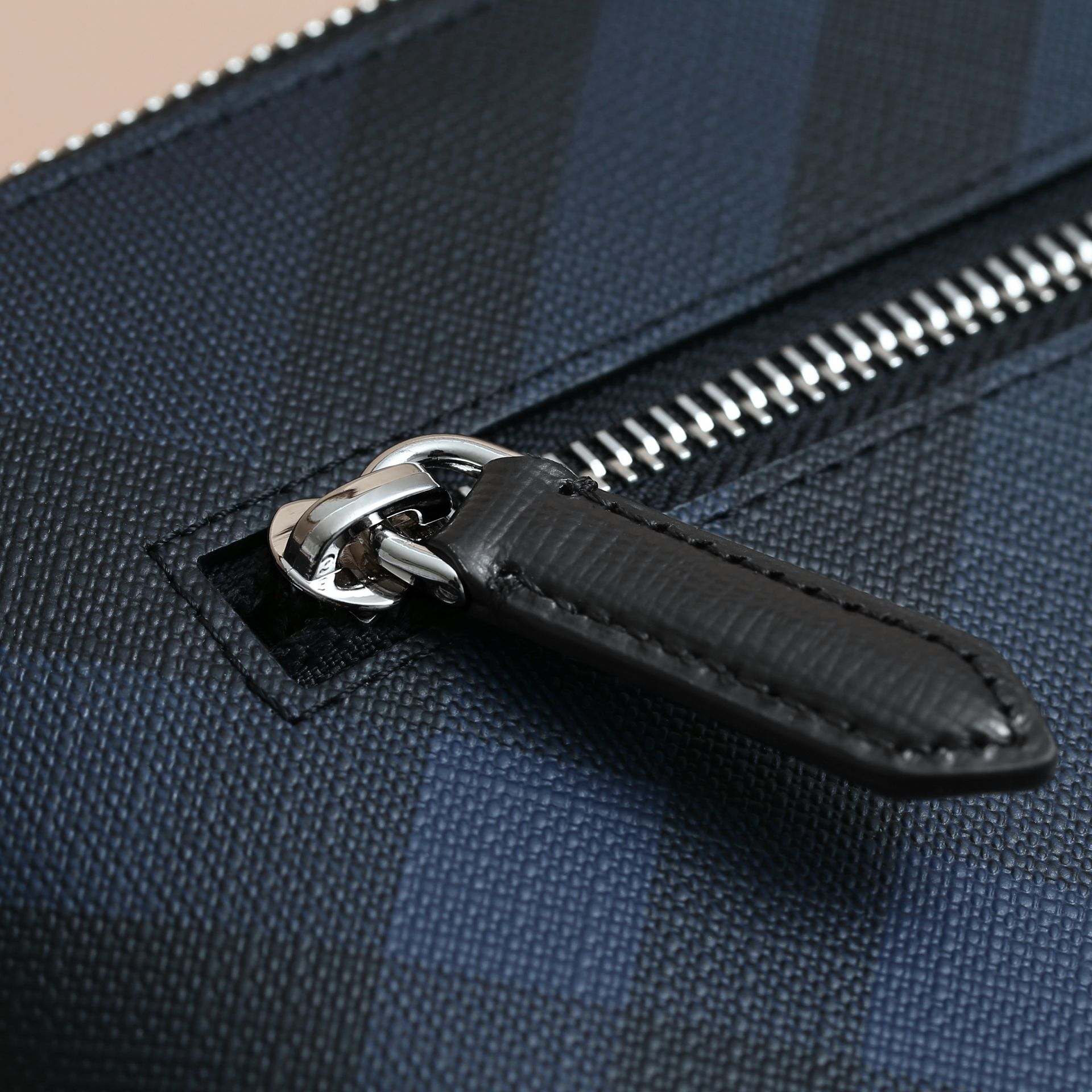 Large London Check Zip Pouch in Navy/black - Men | Burberry United Kingdom - gallery image 2