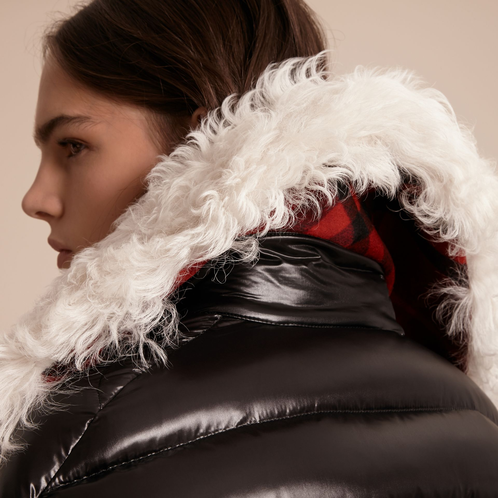 Black Detachable Fur Collar Oversize Down-filled Glossy Puffer - gallery image 5