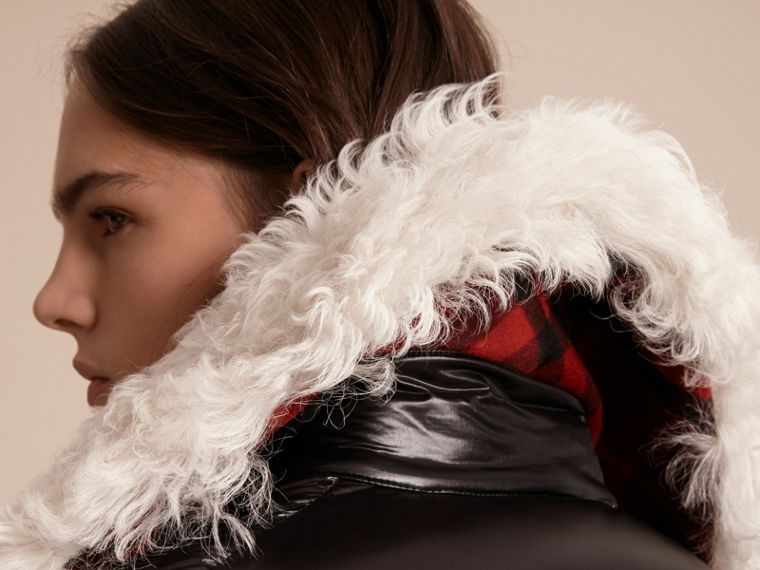 Black Detachable Fur Collar Oversize Down-filled Glossy Puffer - cell image 4