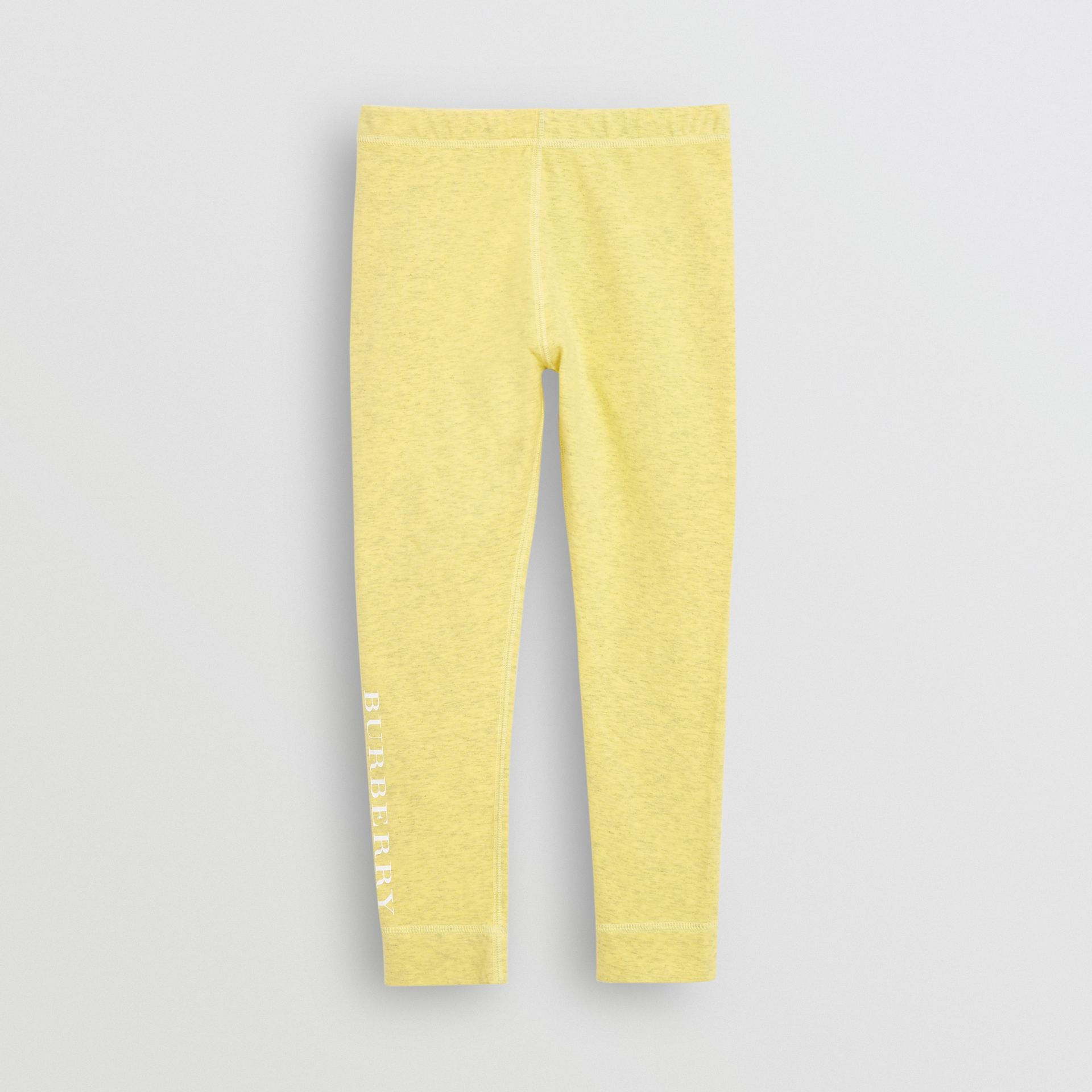 Logo Print Stretch Cotton Leggings in Citrus Yellow | Burberry United Kingdom - gallery image 0