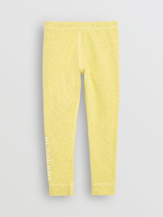 Logo Print Stretch Cotton Leggings in Citrus Yellow