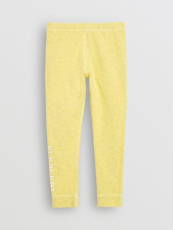 Leggings de algodão stretch com estampa de logo (Amarelo Cítrico)