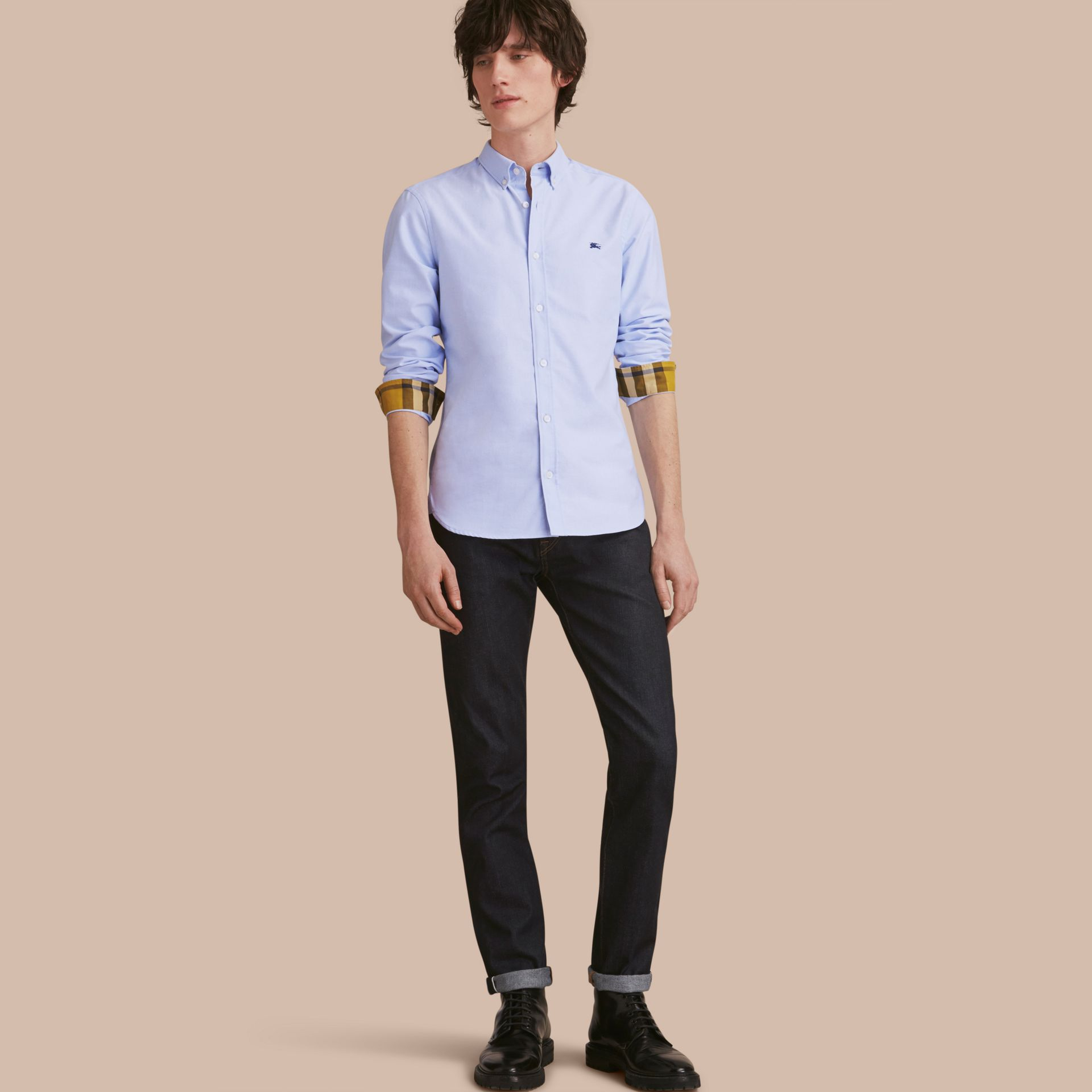 Button-down Collar Cotton Oxford Shirt with Check Detail Cornflower Blue - gallery image 1
