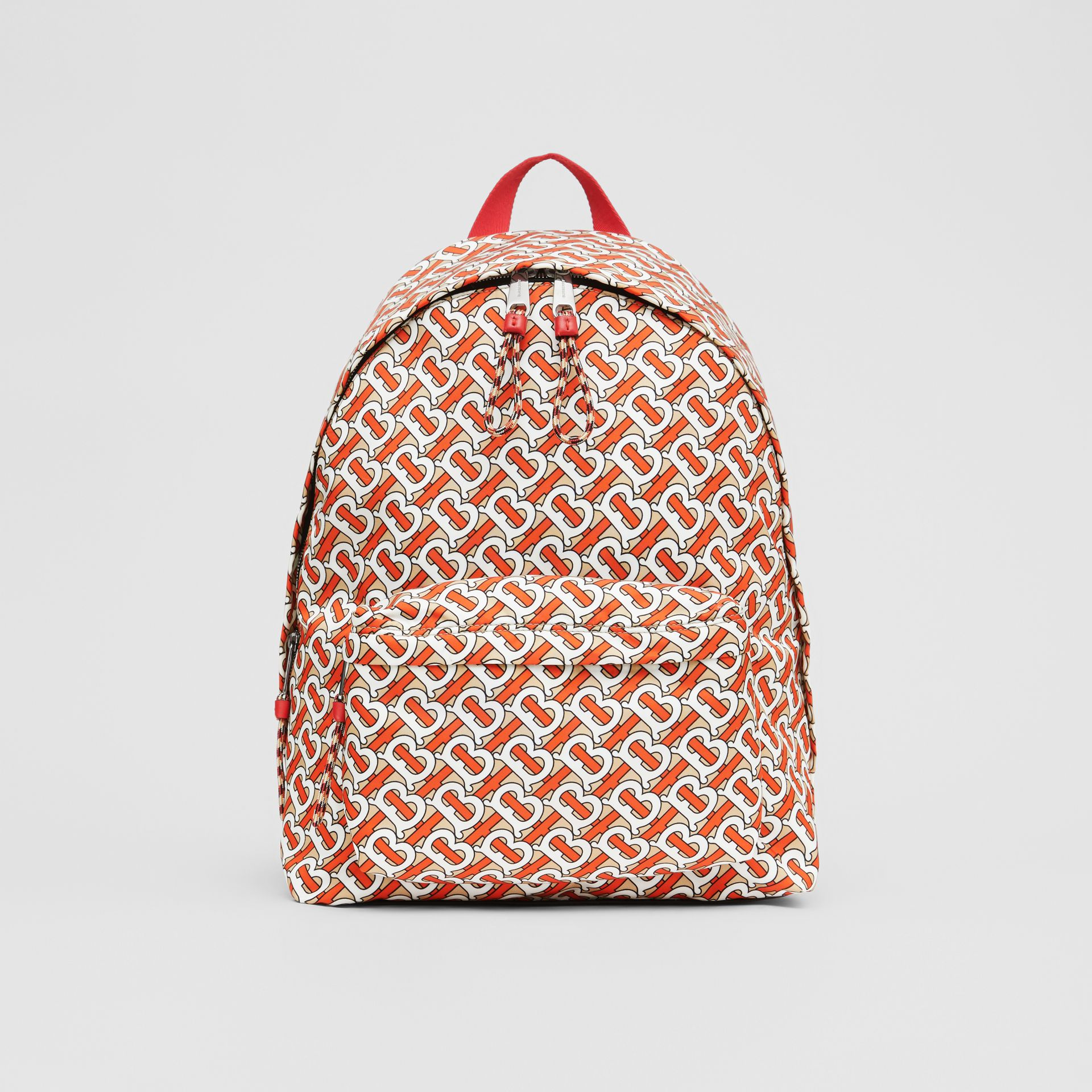 Monogram Print Nylon Backpack in Vermillion | Burberry United Kingdom - gallery image 0