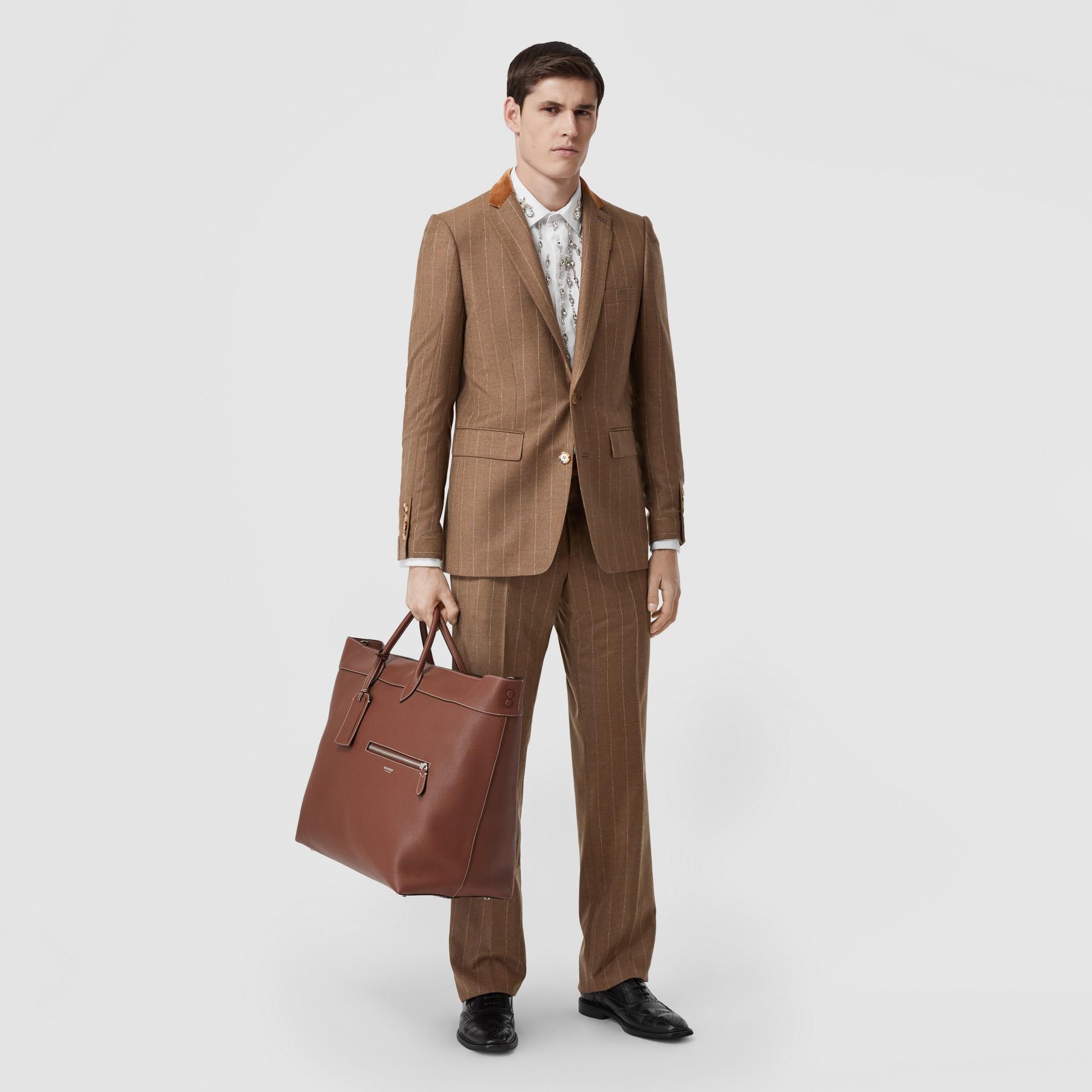 Classic Fit Velvet Trim Wool Cashmere Tailored Jacket in Dark Tan - Men | Burberry - gallery image 4