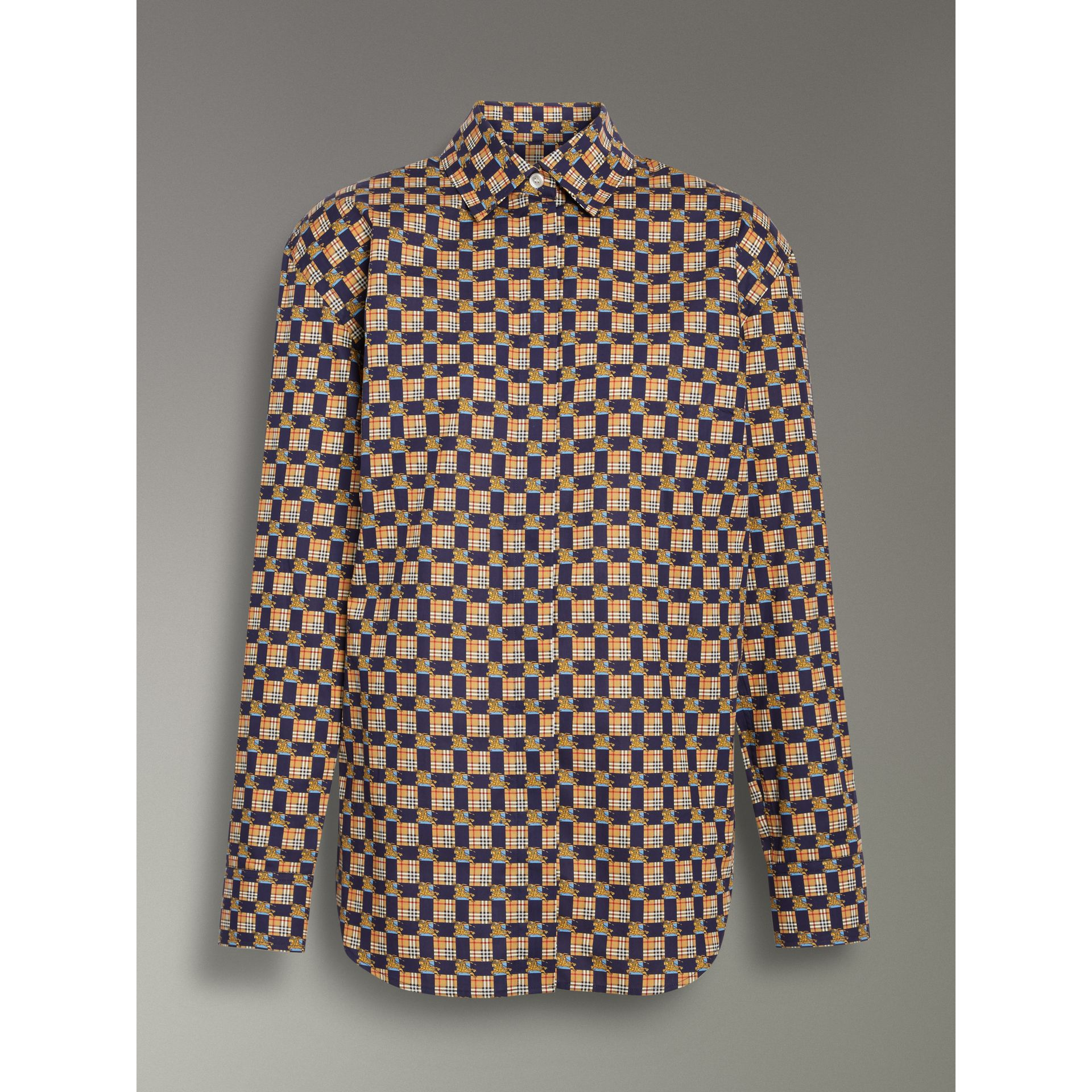 Tiled Archive Print Cotton Shirt in Navy - Women | Burberry - gallery image 3