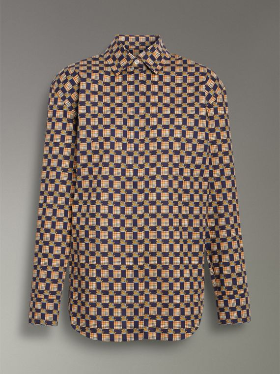 Tiled Archive Print Cotton Shirt in Navy - Women | Burberry - cell image 3