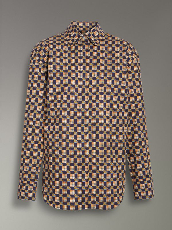 Tiled Archive Print Cotton Shirt in Navy - Women | Burberry United Kingdom - cell image 3