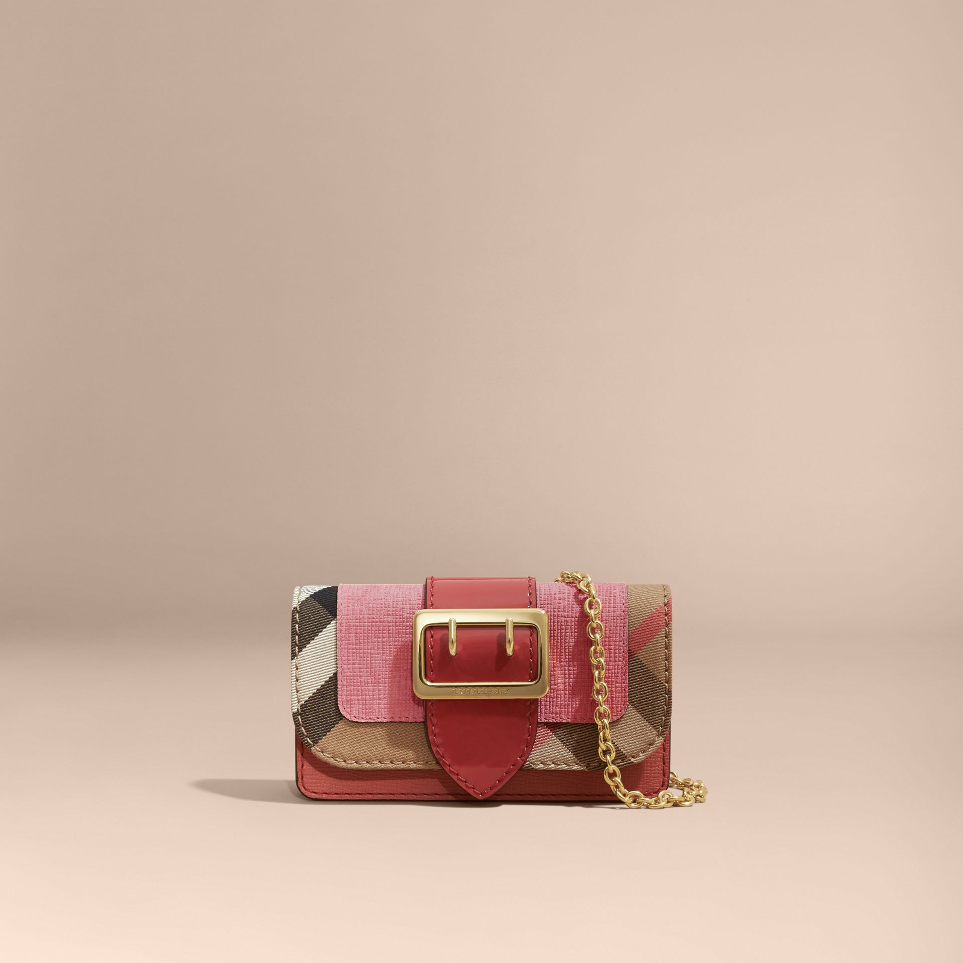 Rose pink The Mini Buckle Bag in Leather and House Check Rose Pink - gallery image 9