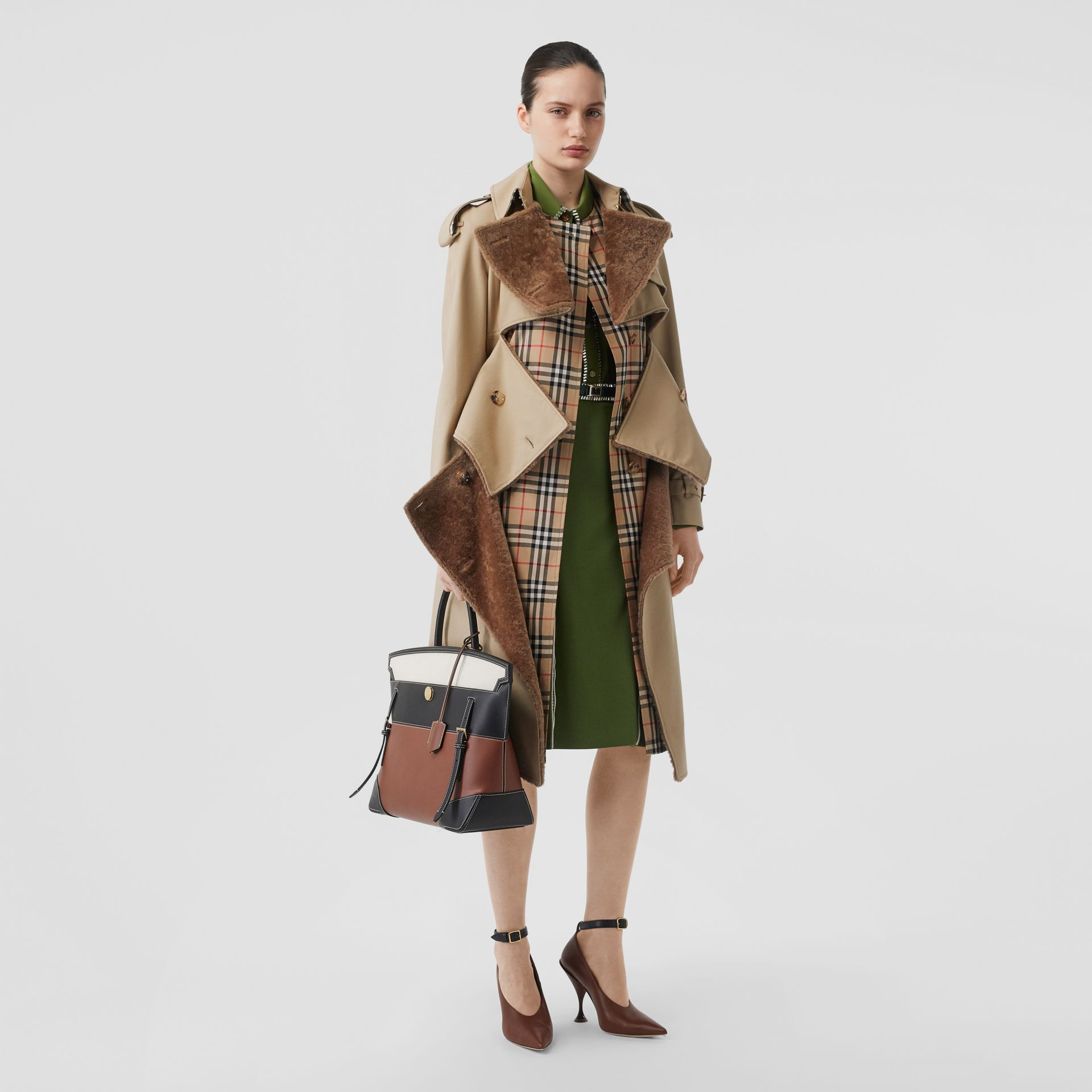 Deconstructed Cotton and Shearling Trench Coat in Honey - Women | Burberry Singapore - gallery image 0