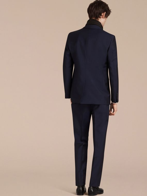 Modern Fit Wool Mohair Part-canvas Suit Royal Navy - cell image 2