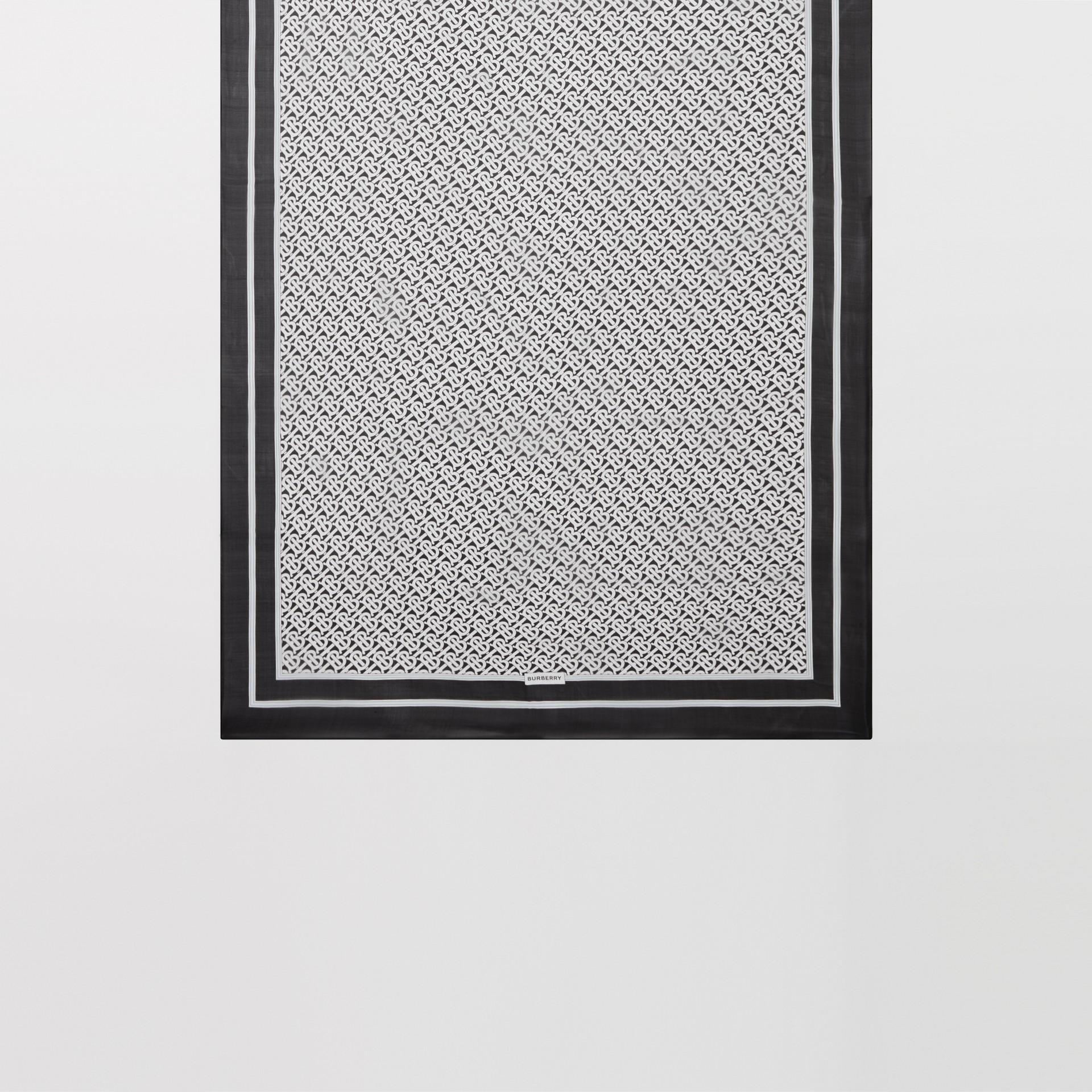 Monogram Print Silk Chiffon Scarf in Monochrome | Burberry United Kingdom - gallery image 3
