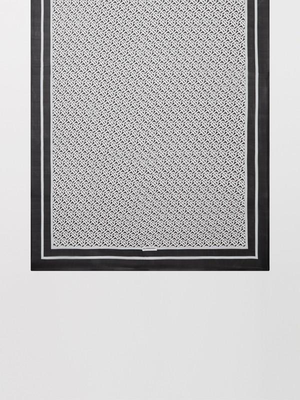 Monogram Print Silk Chiffon Scarf in Monochrome | Burberry United Kingdom - cell image 3