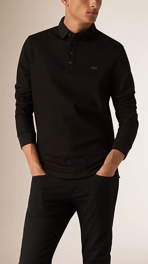 Black Long Sleeve Polo Shirt Black - Image 1