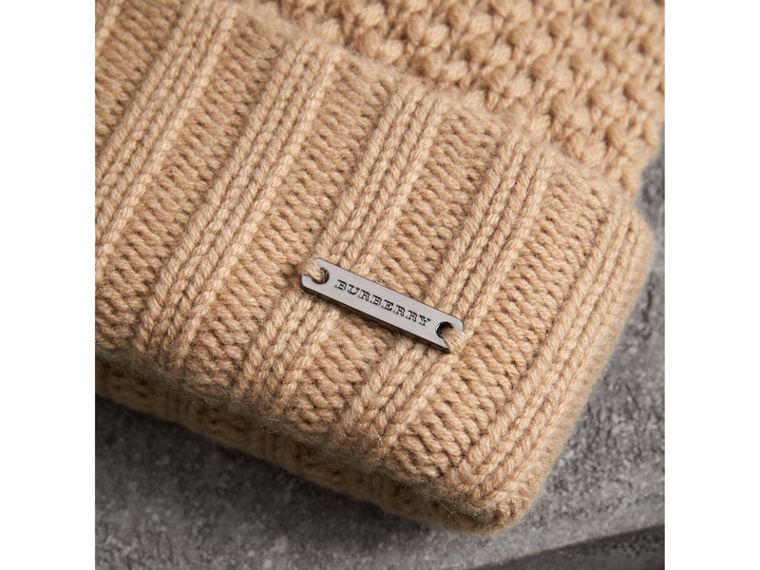 Fur Pom-Pom Wool Cashmere Beanie in Camel - Women | Burberry - cell image 1