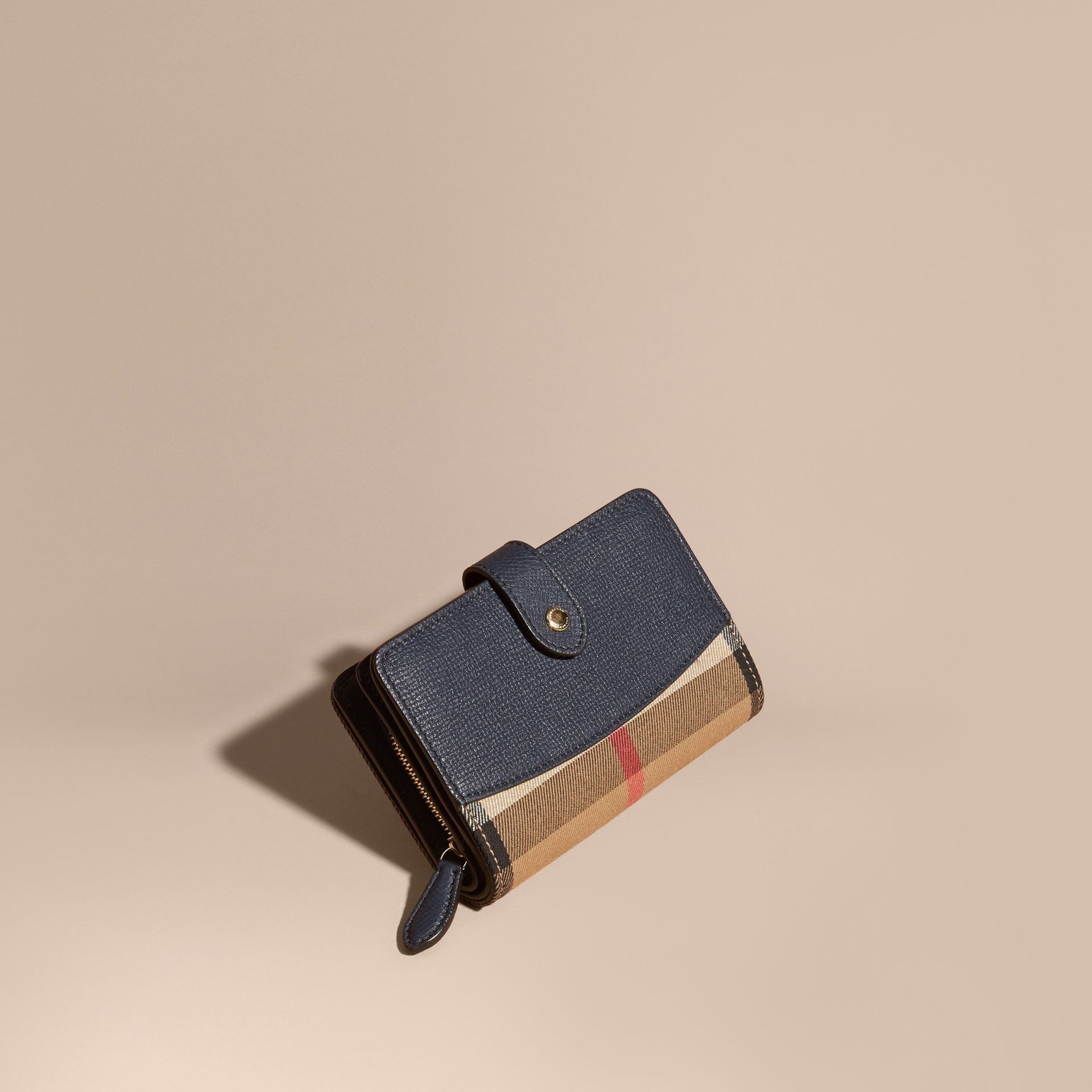 House Check and Leather Wallet in Ink Blue - gallery image 1
