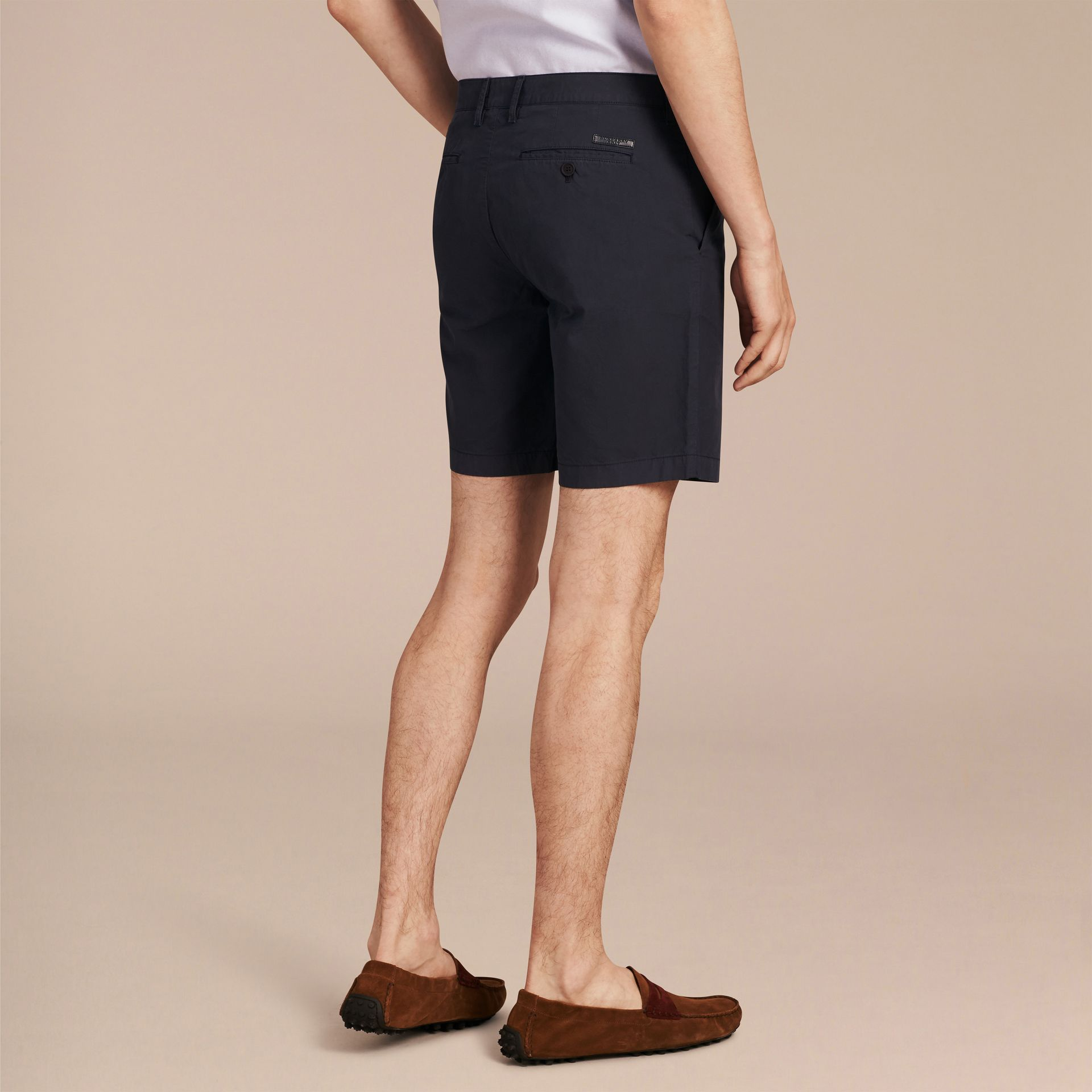 Indigo Cotton Poplin Chino Shorts Indigo - gallery image 3