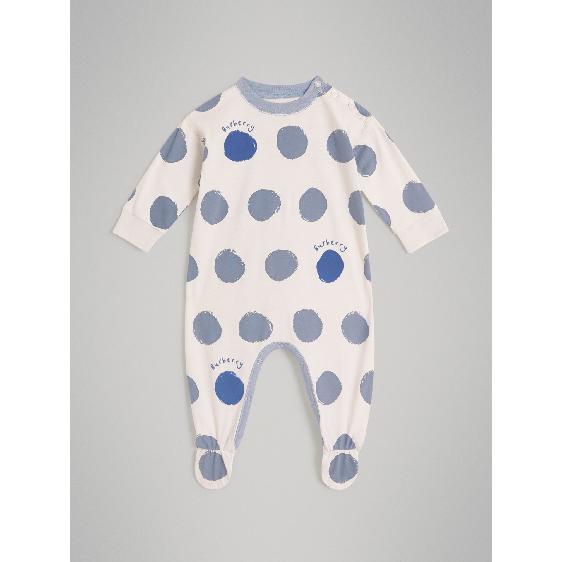 Graphic Spot Cotton Jersey Two-piece Baby Gift Set in Canvas Blue - Children | Burberry - gallery image 2