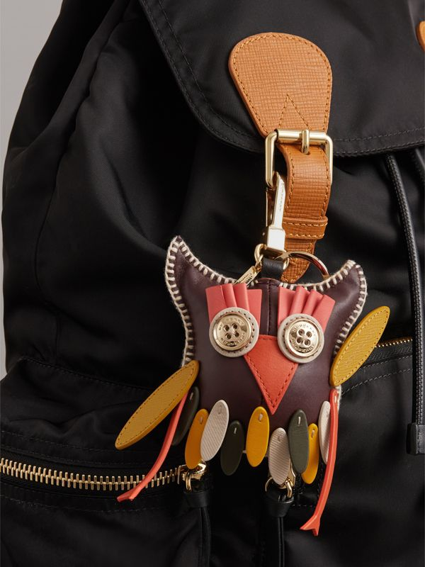 Mavis The Owl Leather Charm in Deep Claret - Women | Burberry - cell image 2