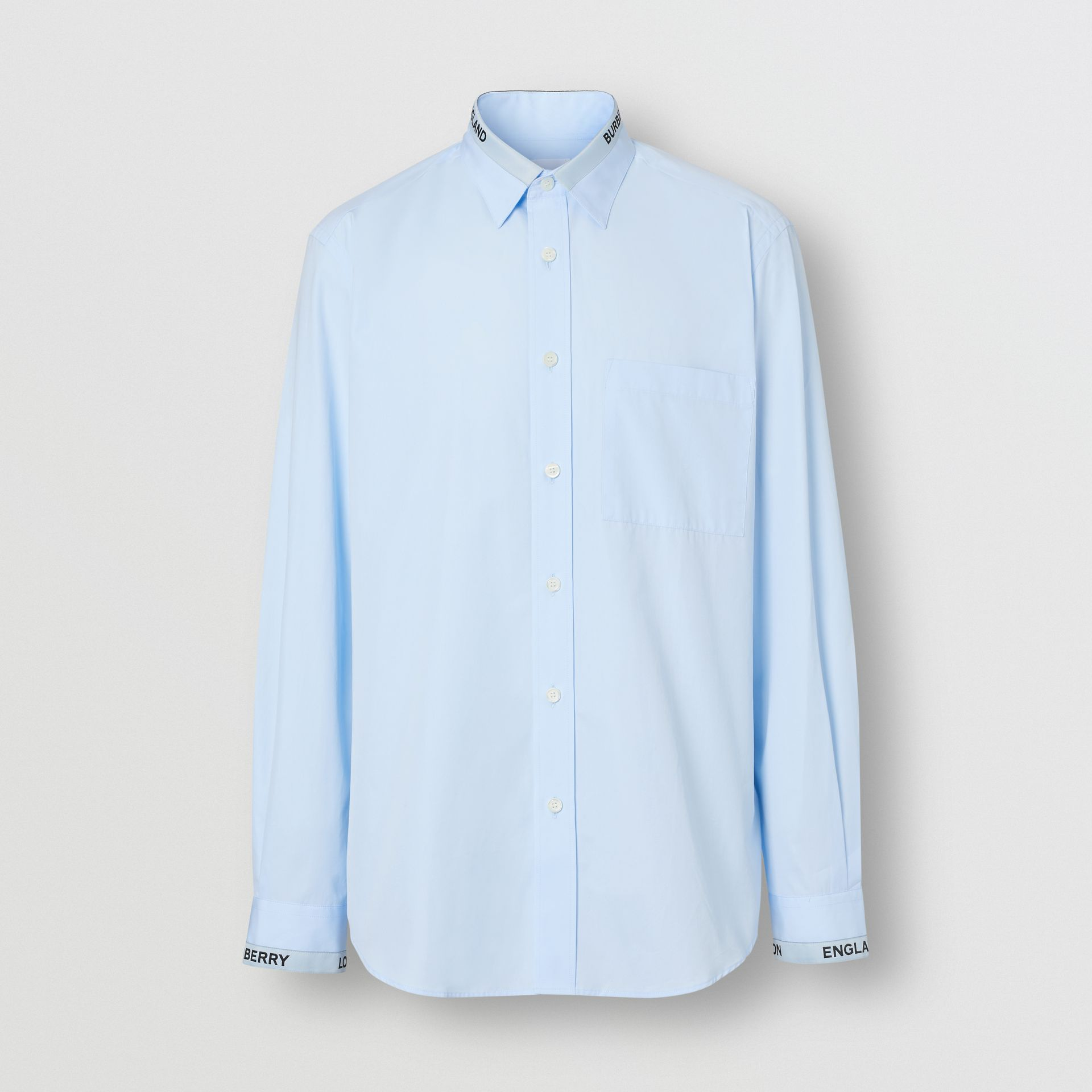 Logo Detail Cotton Poplin Shirt in Pale Blue - Men | Burberry - gallery image 3