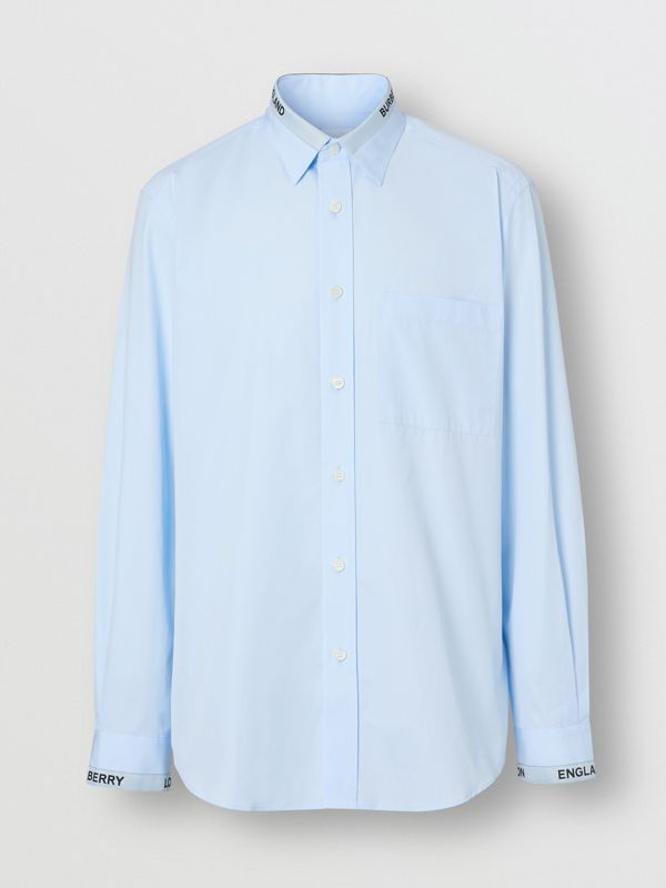Logo Detail Cotton Poplin Shirt in Pale Blue - Men | Burberry United Kingdom - cell image 3