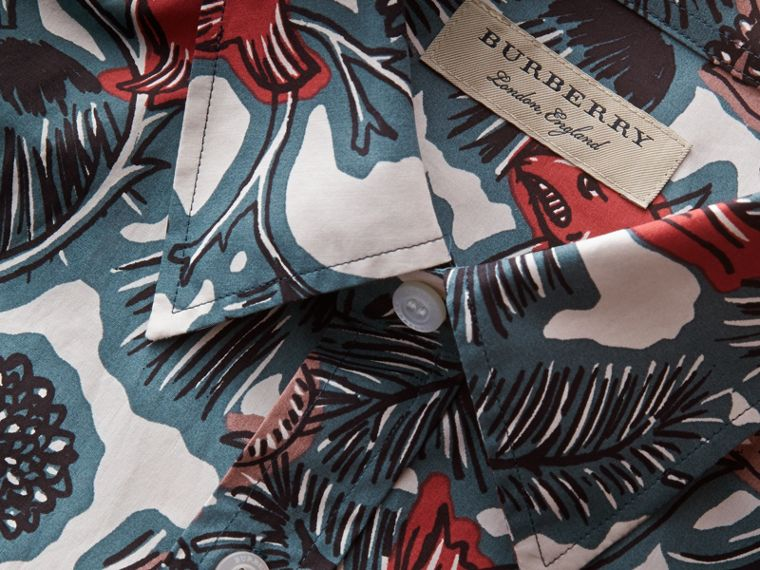 Beasts Print Cotton Poplin Longline Shirt in Mineral Blue - Men | Burberry - cell image 1