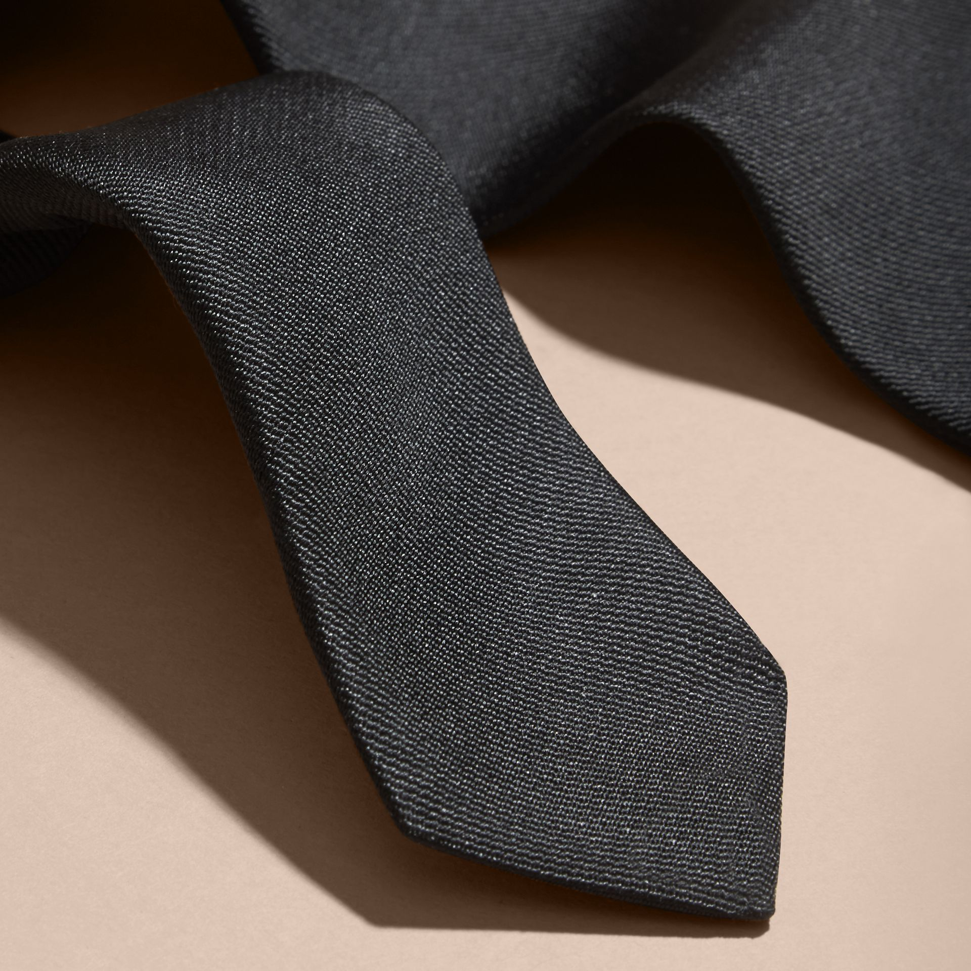 Black Slim Cut Silk Twill Tie Black - gallery image 2