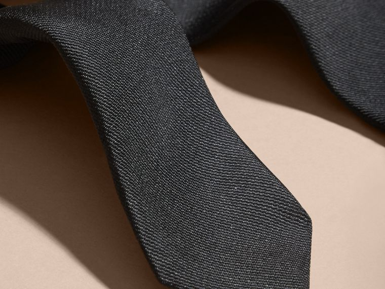 Black Slim Cut Silk Twill Tie Black - cell image 1