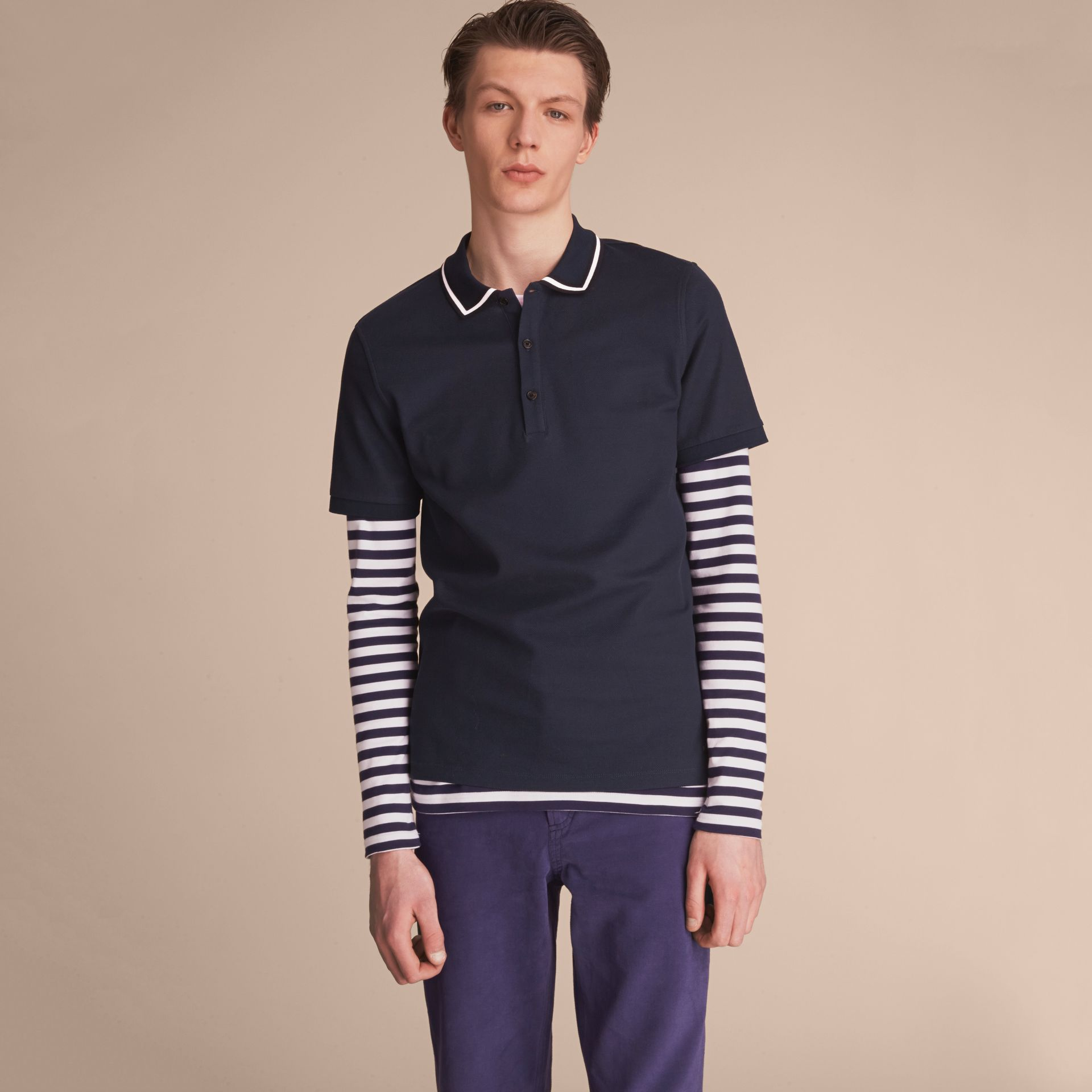 Striped Collar Cotton Piqué Polo Shirt in Navy - Men | Burberry - gallery image 6