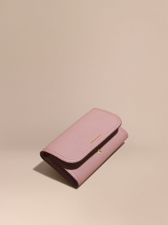 Leather Continental Wallet with Removable Coin Case in Dusty Pink - Women | Burberry